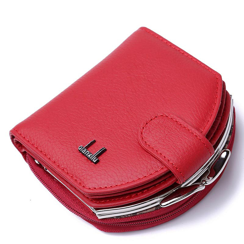 Women Wallet Female Genuine Leather Short Wallets Fashion Brand Cowhide Leather Coin Purse Small Card Holder Zipper Money Bag slymaoyi classical men wallets genuine leather short wallet fashion zipper brand purse card holder wallet man with coin bag page 4