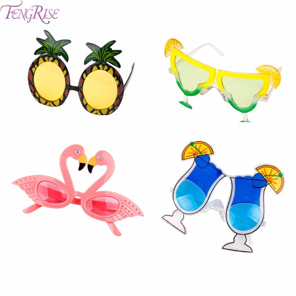 FENGRISE Pineapple Lemon Fruit Summer Flamingo Party Glasses Bride To Be Hawaiian Carnival Party Sunglasses Decoration Supplies