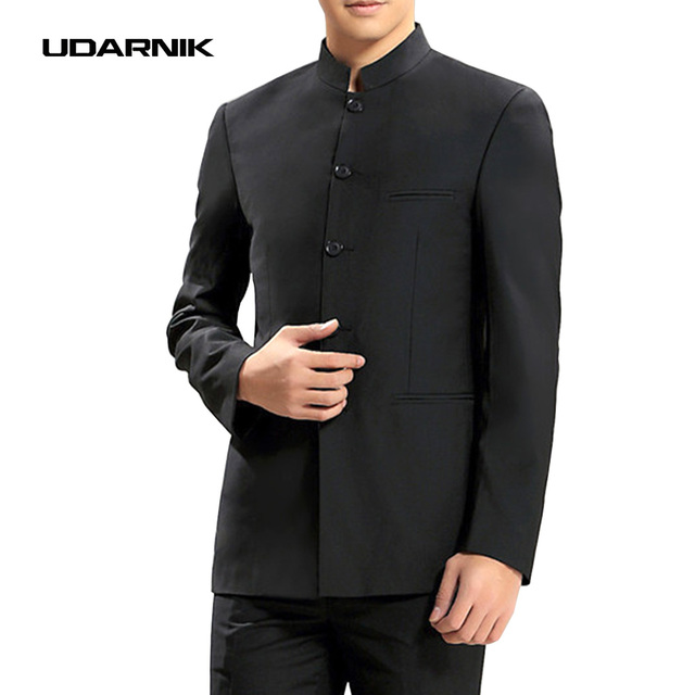 1db371c2889d Китайский Для мужчин Винтаж традиционный воротник-стойка Черный zhongshan  пиджак Брюки для девочек комплект Блейзер