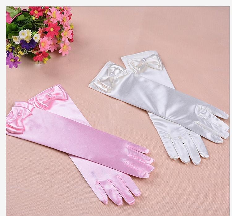 Kids Satin Short Gloves Princess Fancy Dress Accessory Kids Flower Girl Gloves