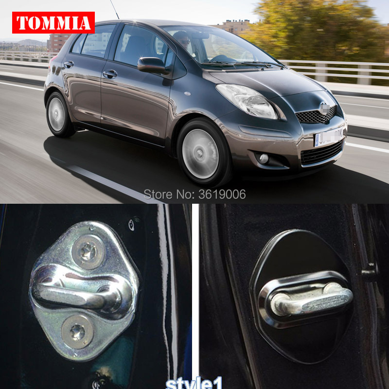 Tommia 1set Silver Stainless Steel Door Lock Buckle Protective Cover For Toyota corolla camry avensis rav4 yaris auris