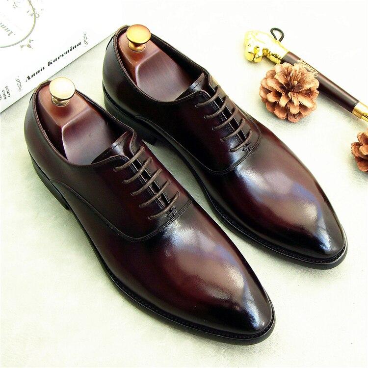 На шнуровке Мужские модельные туфли оксфорды 2018 итальянской кожи формальная обувь оксфорды для мужчин Свадебная вечеринка туфли оксфорды