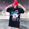 Женская футболка с коротким рукавом  Повседневная Свободная футболка большого размера в Корейском стиле  с круглым вырезом и рисунком  лето...