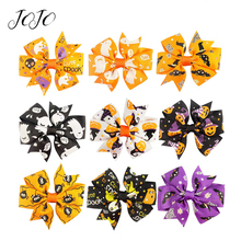 JOJO BOWS 4pcs Party Holiday DIY Decoration Pumpkin Printed Craft Halloween Hair Bows Clip For Kid Girl Apparel Accessories