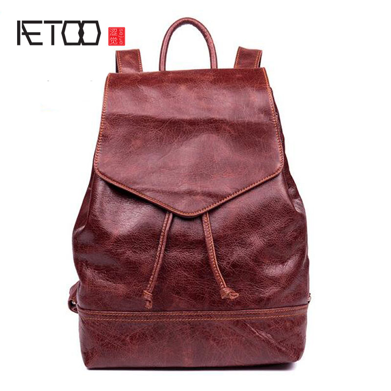 AETOO First layer of leather shoulder bag simple section leather wild ladies bag backpack aetoo shoulder bag female leather bag wild first layer of leather bag small backpack