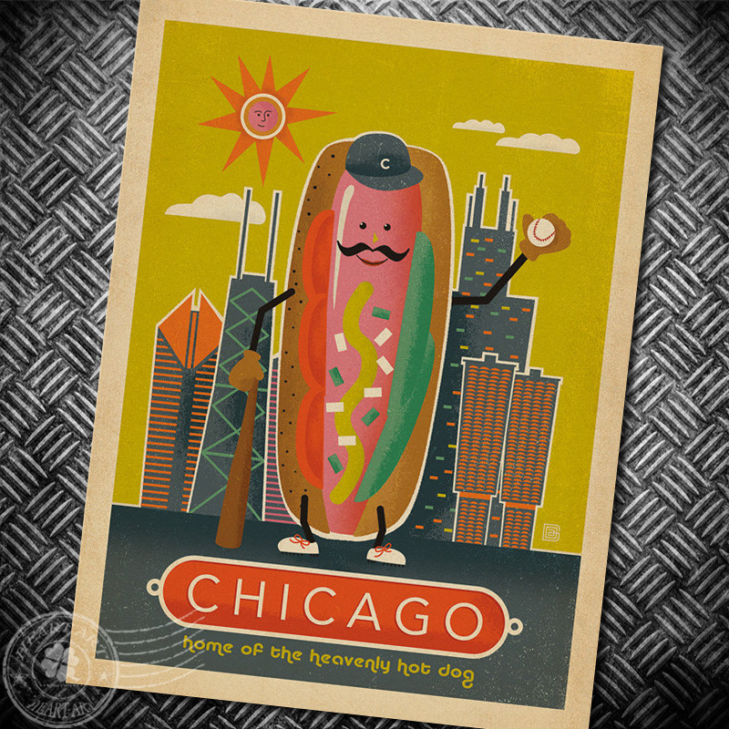 Compare prices on chicago poster vintage online shopping for Best brand of paint for kitchen cabinets with vintage plane wall art