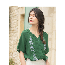 2019 Summer New Arrival O-neck Lace Half Sleeve Embroudery Literary Loose Casual Women Blouse