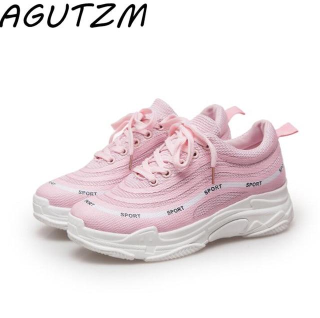 fc7e1c8651 AGUTZM Zapatillas de Mujer blanco negro Rosa plataforma zapatos casuales  para Mujer cesta femenina Zapatillas Deportivas