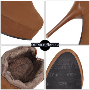Image 5 - JK Big Size 32 48 Stiletto Heels Women Boots Round Toe Flock Ladies Shoes Crystal Rubber Autumn Zip Footwear Platform Ankle Boot