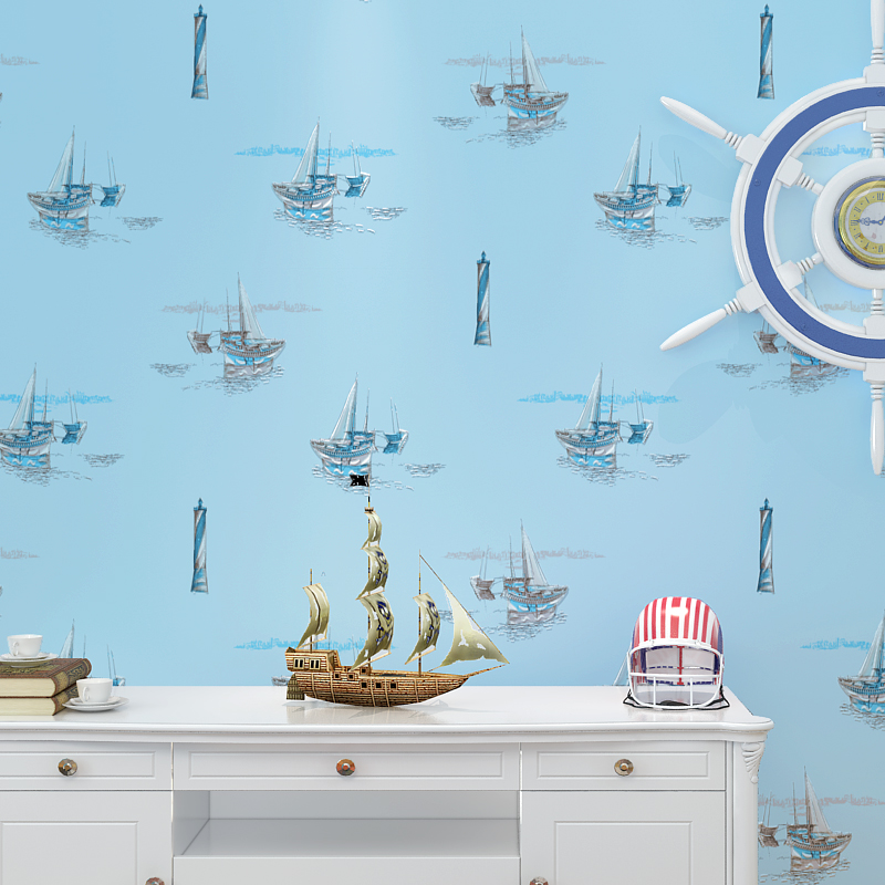 Children room wallpaper cartoon sailing yacht boy kid bedroom non-woven environmental protection