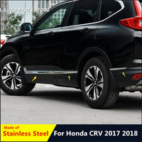 STAINLESS STEEL SIDE DOOR BODY MOLDING TRIM COVER LINE GARNISH STICKER ACCESSORIES 6PCS / SET FOR HONDA CRV CR V 2017 2018 2019