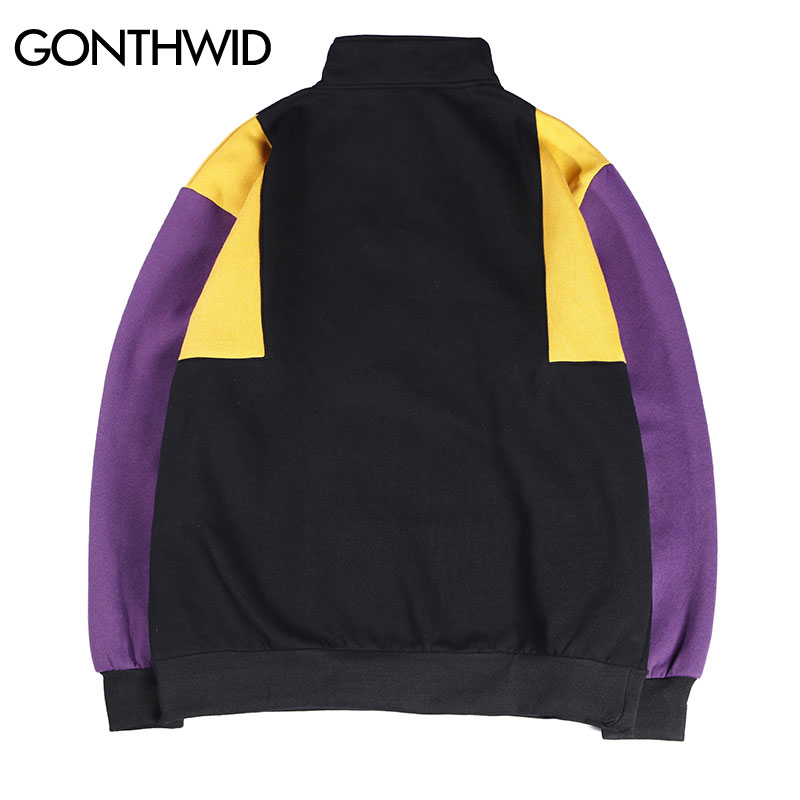Aliexpress.com  Comprar GONTHWID hombres Color bloque Patchwork medio  cremallera pulóver polar sudaderas 2018 otoño masculino Hip Hop sudaderas  moda ... 3979e87d6bc