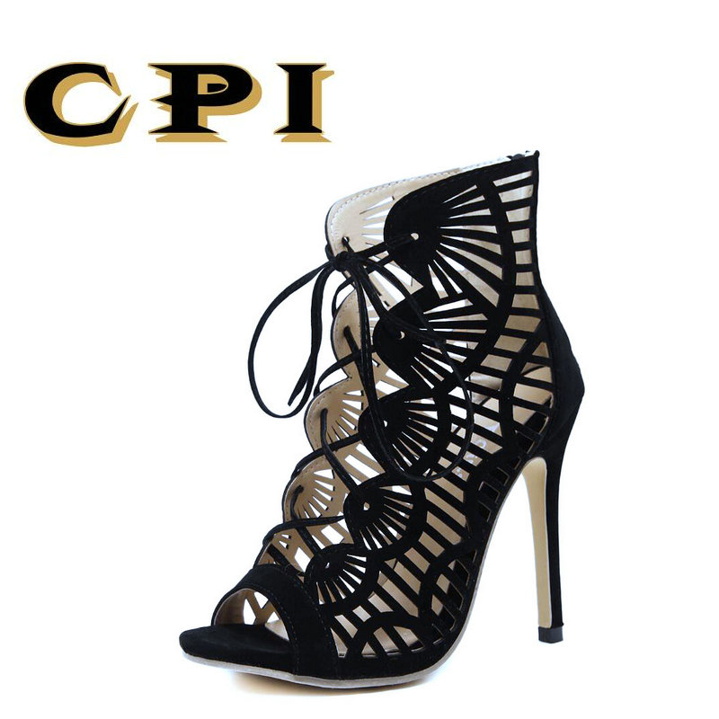 CPI Women Pumps Casual Peep Toe Lace Up Cutouts high heels Shoes Woman High Gladiator high heels fashion lightweight NX-035