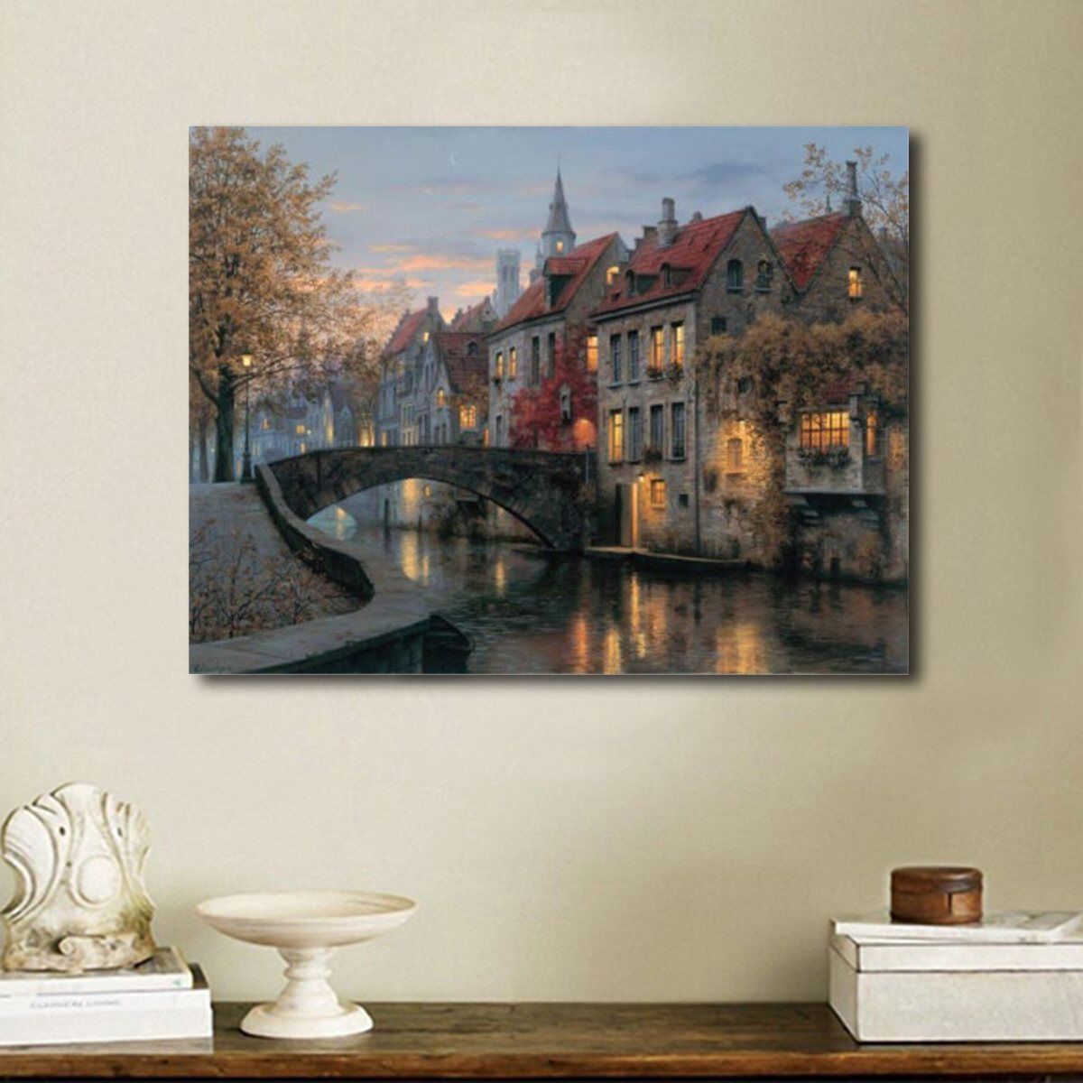 Modern river house canvas painting 40x30cm scenic pictures for Canvas mural painting