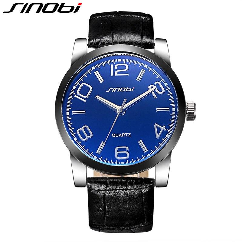 SINOBI Brand Watch Men Fashion Casual Genuine Leather Strap Watches Analog Quartz Wristwatch Business Male Clock Relojes Hombre