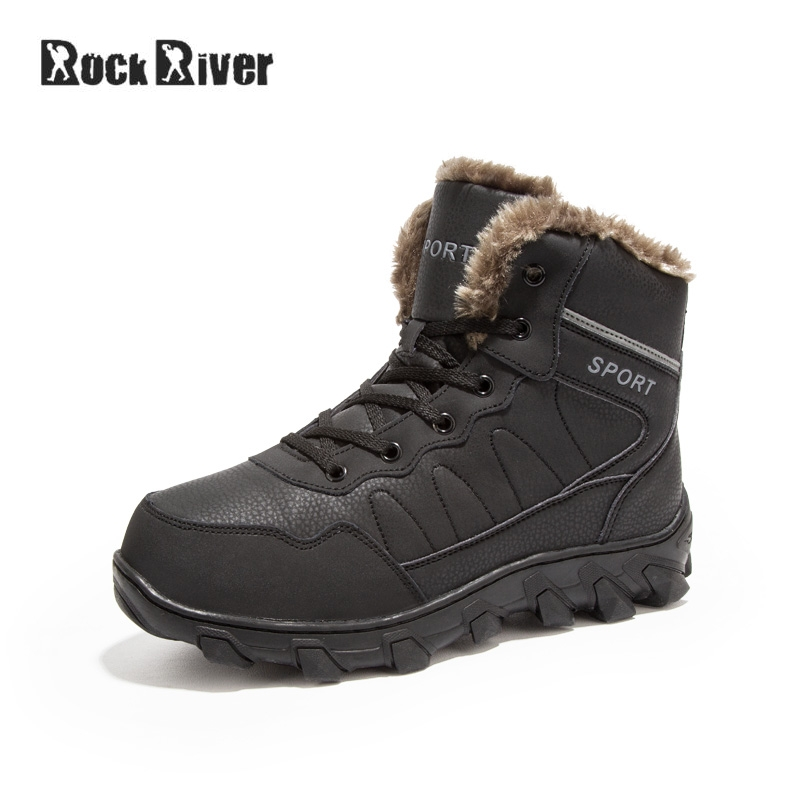 High Quality Genuine Leather Boots Men Waterproof Lace-up Black Warm Fur Winter Boots Snow Big Size 39-48 Winter Shoes Men amaginm big size men shoes high quality genuine leather men ankle boots fashion black shoes winter men boots warm shoes with fur