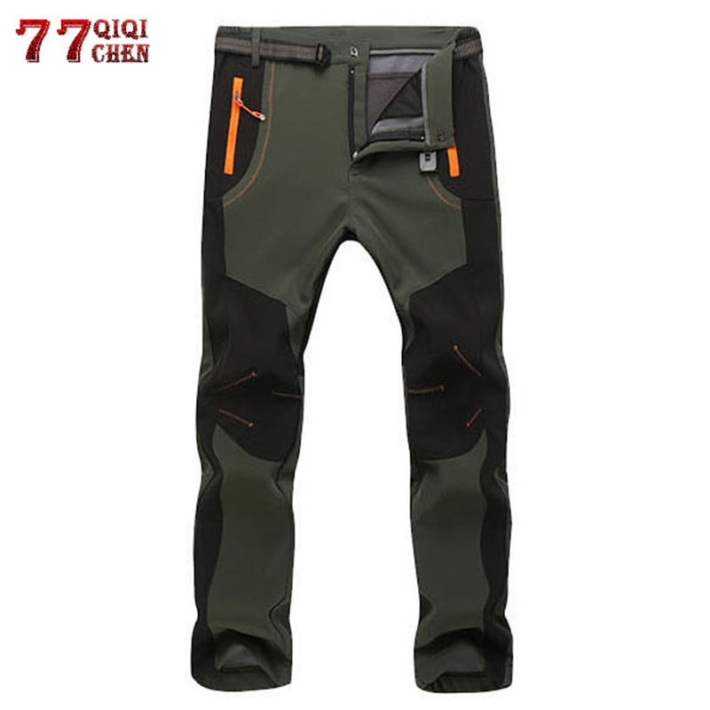 Winter Warm Cargo Stretch Pants Men Women Casual Fleece Snow Pants Waterproof Soft Shell Trousers Male Tactical Work Pants 5XL