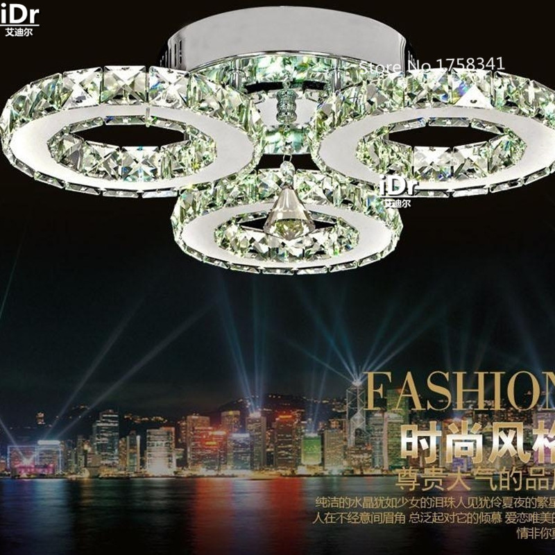 Modern fashion simple stainless steel LED crystal ceiling lights living room bedroom study with balcony aisle crystal lamp modern led crystal ceiling light for living room lamp stainless steel