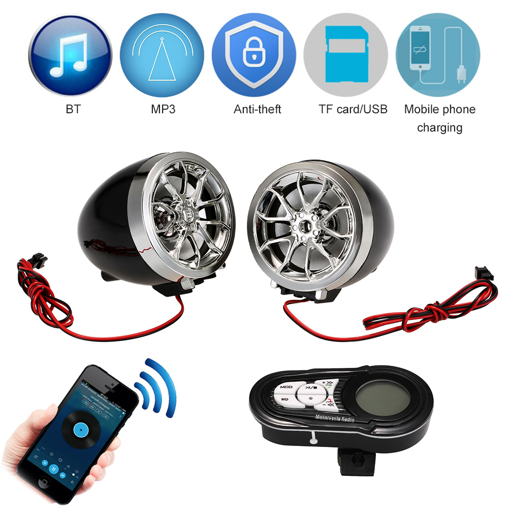 Motorcycle Mutilmedia MP3 Music Player Speakers Audio FM Radio Security Alarm Wireless Bluetooth Remote with USB TF Card Slot mtsooning motorcycle mp3 player atv audio music system support usb 12v motorbike fm radio with speakers motorcycle music player