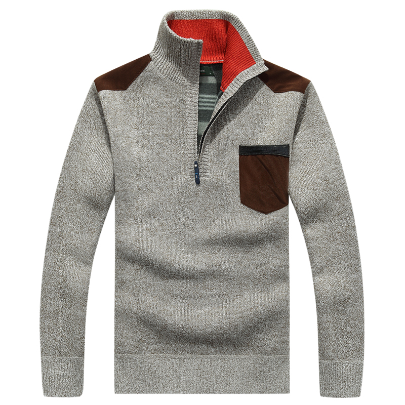 AFS JEEP mens sweaters 2018  brand pullover men half zipper casual knitwear winter sweater turtleneck men clothing christmas men-in Pullovers from Men's Clothing