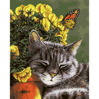 Abstract Canvas DIY Digital Lazy Cat Oil Painting By Numbers Coloring Wall Arts Frameless Oil Painting