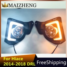2pcs LED 12V ABS Car fog Lamp DRL Daytime Running Light For Toyota Hiace 2014 2015 2016 2017 2018 with Turn Signal все цены