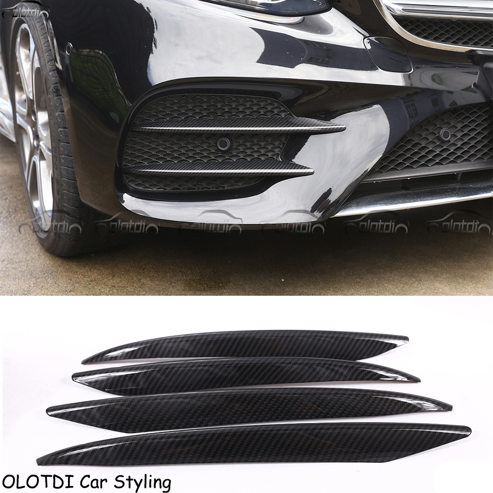 Car Styling ABS Carbon Look Front Fog Lamp Cover Trim For Mercedes Benz E Class W213 2016 2017 E43 AMG Car styling
