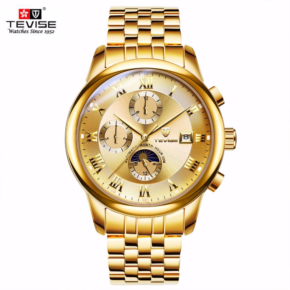 Automatic Mechanical Watch Men TEVISE Moon Phase Stainless Steel Watch Waterproof Luminous Men's Watches Relogio Masculino 9008