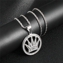 HIP Hop 316L Titanium Stainless Steel Bling Iced Out Cubic Zirconia Crown Necklaces Round & Pendants for Men Jewelry