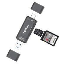 Adaptador de Alumínio Usb-c para Macbook e android e tablets 5 em 1 Tutuo Tipo-c & Usb-a Micro Usb Otg Conversor Sd e tf Leitor de Cartão Cinza