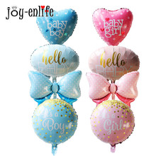 Baby Shower Decorations Balloon Heart Bow Round Foil Ballon Kids Toys Newborn Party Decoration Air Balloons