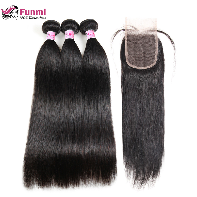 Funmi Brazilian Straight Hair Bundles With Closure Free/Middle/Three Part Human Hair Bundles With Closure 3 Bundles With Closure