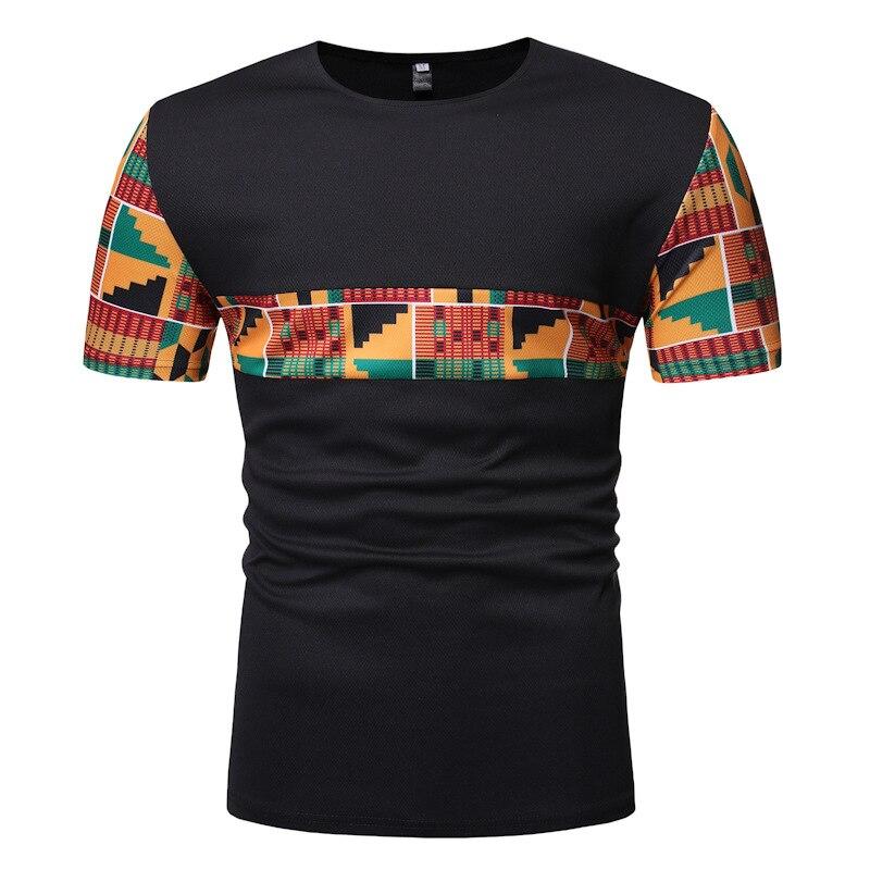 e6037557d4f Camiseta de algodón Kente africana de moda para hombre de manga corta Tops  de Ghana camiseta de impresión geográfica de Ankara ropa bloqueada de Color
