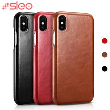 hot deal buy sleo genuine leather case for iphone xs xs max xr case luxury retro leather flip cover case for iphone xr xs max x cowhide cover