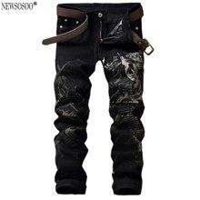 Newsosoo бренд Высокого качества мужская мода пистолет печати стрейч джинсы Тонкий черный цвет прямые брюки Длинные брюки MJ29