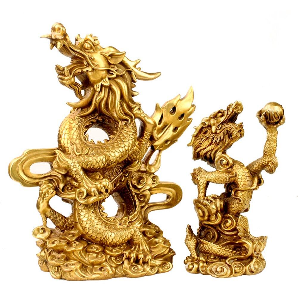 1 шт. латунь Дракон украшения зеленый дракон фэн шуй украшения Китайский гостиная Panlong подарок украшения LU611454
