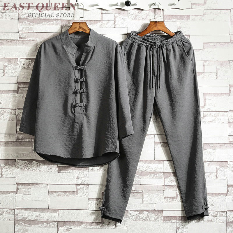 Traditional chinese clothing for men two piece set top and pants casual  loose clothing sets online 4f1d9a4acf67