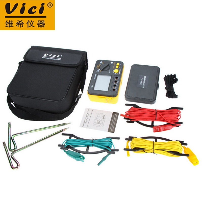 Vici VICHY VC4105A Digital Earth Ground Resistance Tester Earth Voltmeter Ohmmeter 2K 200V w/ LCD Backlight