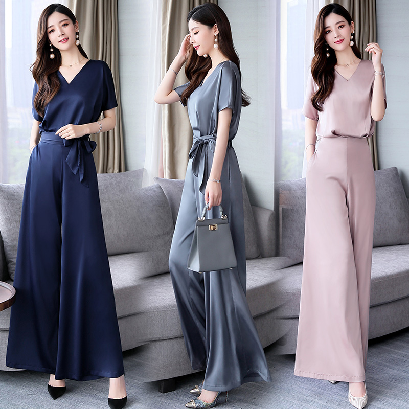 2019 Summer Women Suit Two 2 Pieces Set short sleeve loose solid shirt tops blouse and