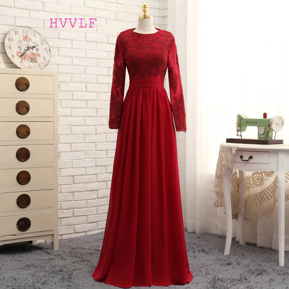 2017 Muslim Evening Dresses A-line Long Sleeves Red Appliques Lace Hijab Islamic Dubai Saudi Arabic Long Evening Gown Prom Dress