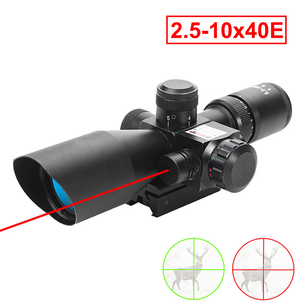 Hunting Riflescope 2.5-10x40E Red Green Illuminated Crosshair Reflex Sight Tactical Scopes Air Gun Electro Red Dot Sight