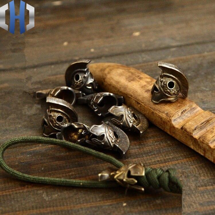 Soldado romano latón Retro cuchillo cuentas DIY accesorios paraguas cuerda colgante Paracord