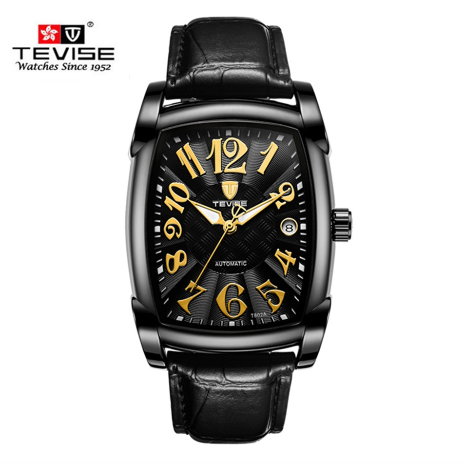 New Style TEVISE Brand Luxury Men Square Waterproof Stainless Steel Business Watch Men's Automatic Mechanical Watch Analog Clock tevise fashion auto date automatic self wind watches stainless steel luxury gold black watch men mechanical t629a with tool