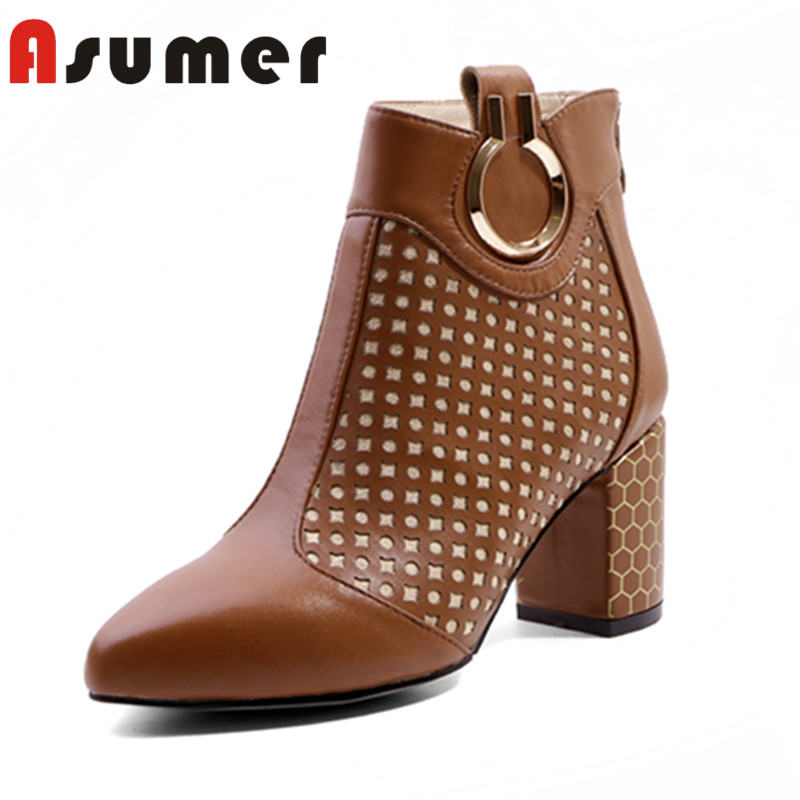 ASUMER NEW 2018 unique plaid ankle boots for women pointed toe adult high heels boots fashion thick heels genuine leather boots