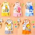 Розничная комплект одежды Младенца, футболки девушки парни тенниски + брюки майку Шорты, дети пижамы набор, Дети футболки 2014 новый летний