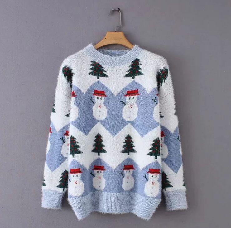 HCBLESS Women sweater 2018 Winter Korean Fresh Sweet Christmas Tree Snowman Jacquard Mohair Loose Sweater