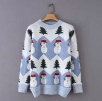 HCBLESS Women sweater 2018 Winter Korean Fresh Sweet Christmas Tree Snowman Jacquard Mohair Loose Sweater