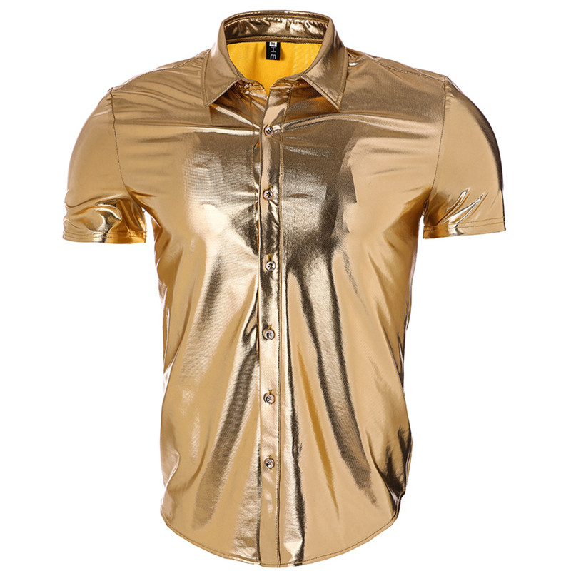 MORUANCLE Fashion Mens Nightclub Shirts Gold Coated Metallic Short Sleeve Shiny Shirts For Man Button Down Halloween Stage Wear