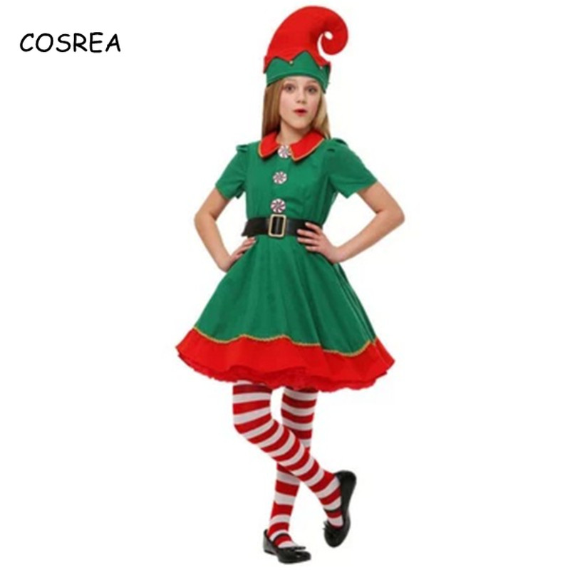 Merry Christmas Dresses Mom and Daughter Matching Clothes Family Women Hat Shoes Socks Cosplay Costumes