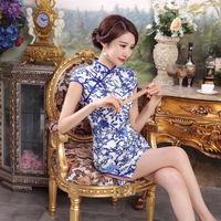 New Arrival Fashion Traditional Chinese Dress Women Mini Mandarin Collar Cheongsam Qipao Size S M L
